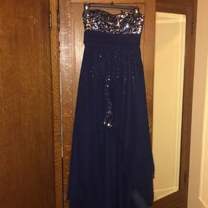 Dresses & Skirts - PROM SEASON blue high low sequence dress